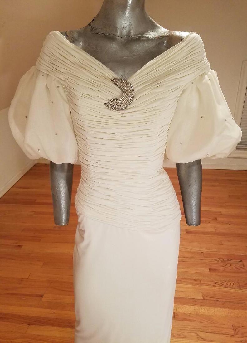 Vintage Rose Taft Couture Shirred Gown Balloon Sleeves - 4