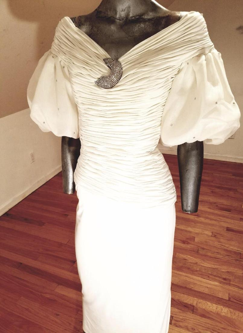 Vintage Rose Taft Couture Shirred Gown Balloon Sleeves - 7