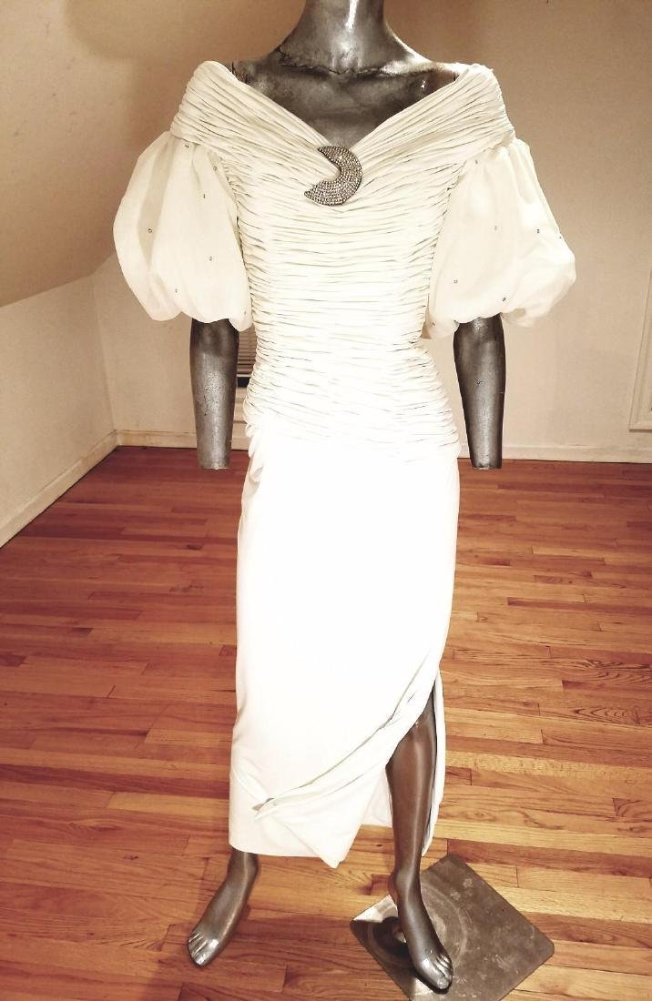 Vintage Rose Taft Couture Shirred Gown Balloon Sleeves - 9
