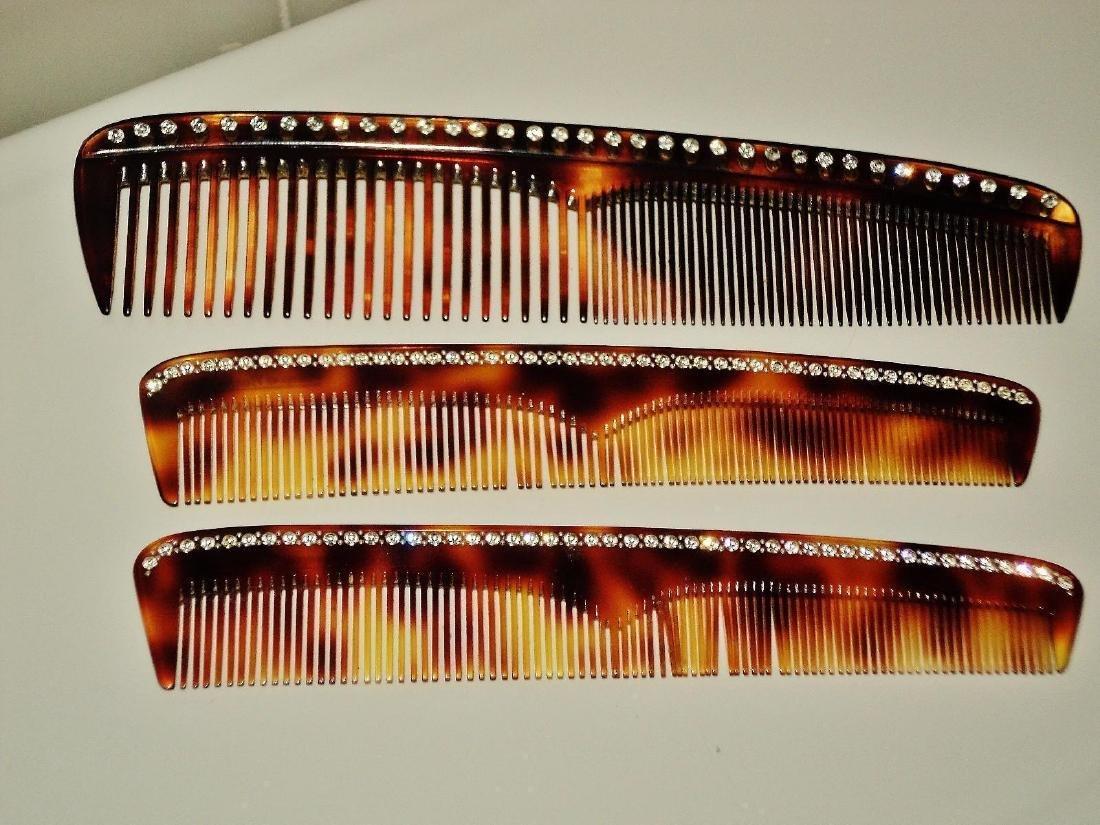 Art Deco Francois Huchard 1930 Tortoise Crystal Combs