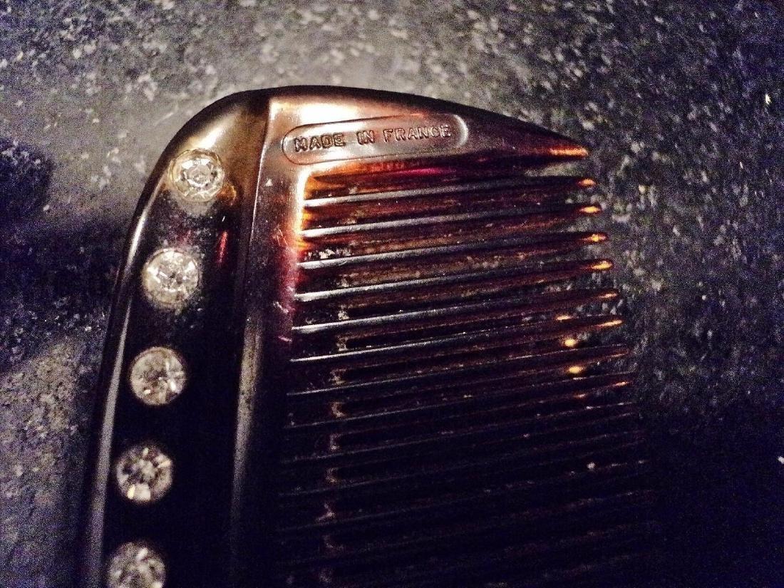 Art Deco Francois Huchard 1930 Tortoise Crystal Combs - 5