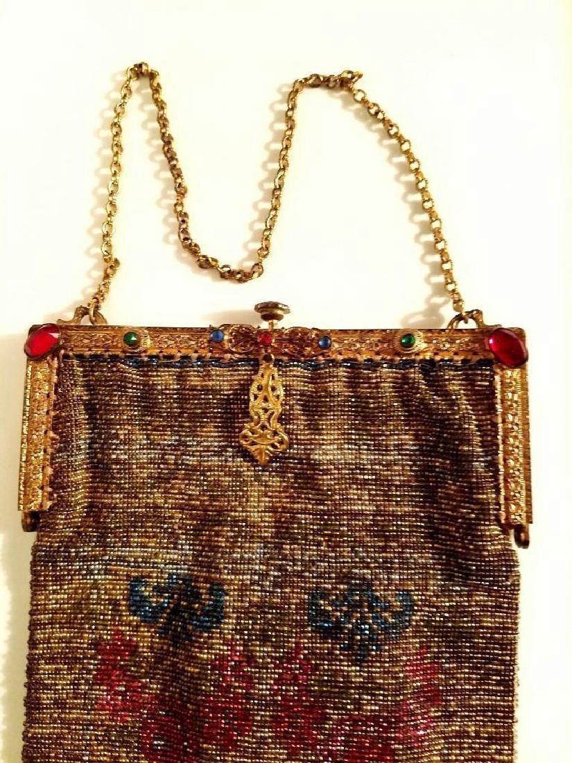 Antique Edwardian French Jeweled Beaded Gilded Bag - 10