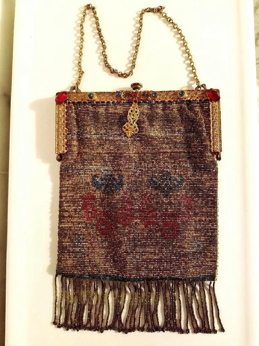 Antique Edwardian French Jeweled Beaded Gilded Bag