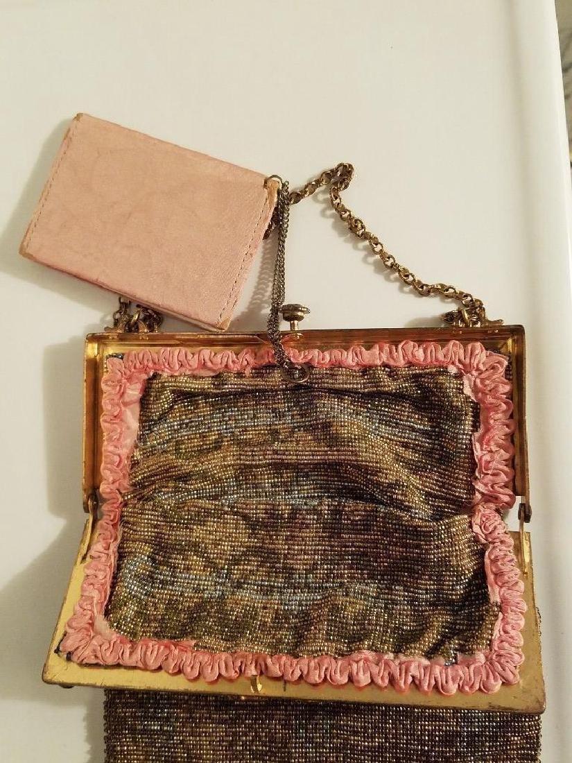 Antique Edwardian French Jeweled Beaded Gilded Bag - 3