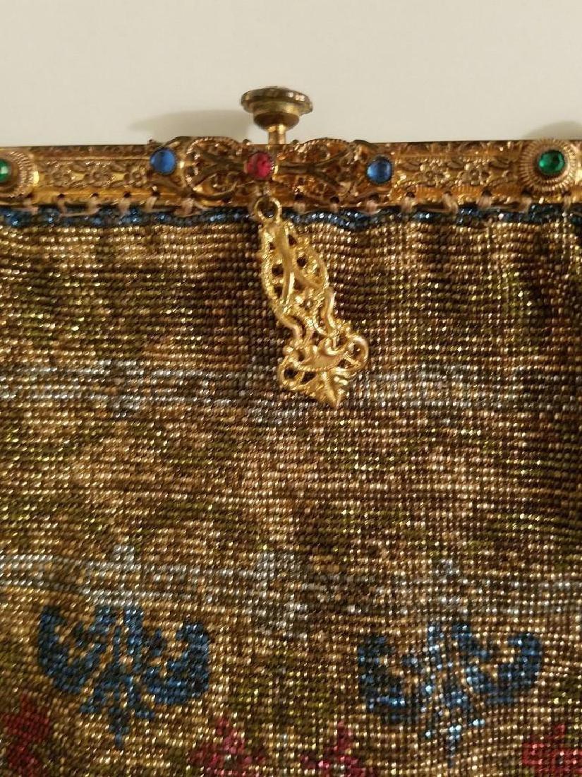 Antique Edwardian French Jeweled Beaded Gilded Bag - 4