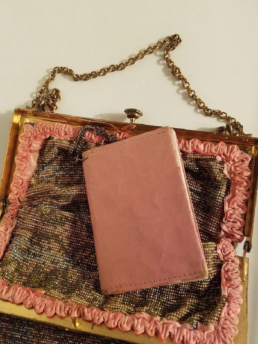 Antique Edwardian French Jeweled Beaded Gilded Bag - 5