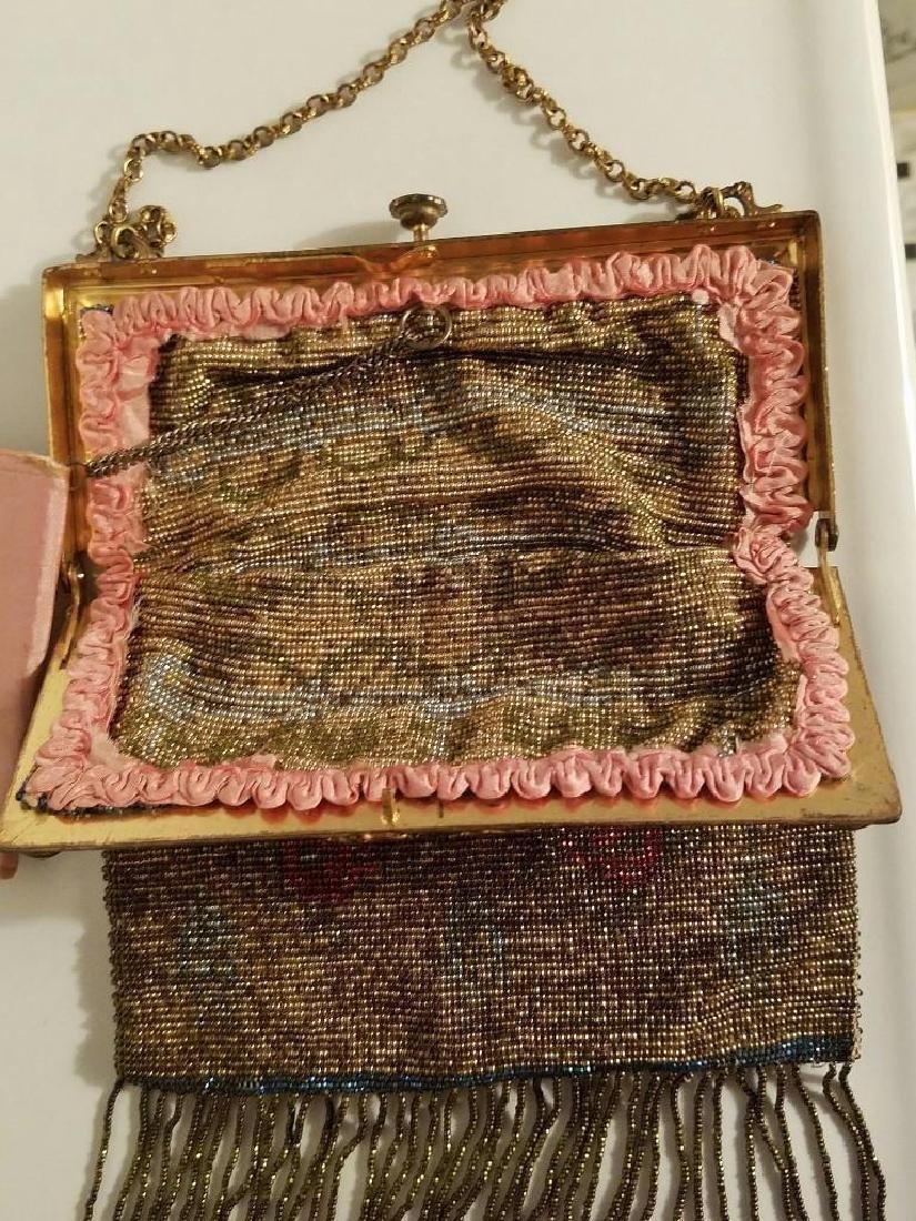 Antique Edwardian French Jeweled Beaded Gilded Bag - 6
