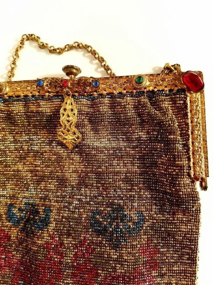 Antique Edwardian French Jeweled Beaded Gilded Bag - 7