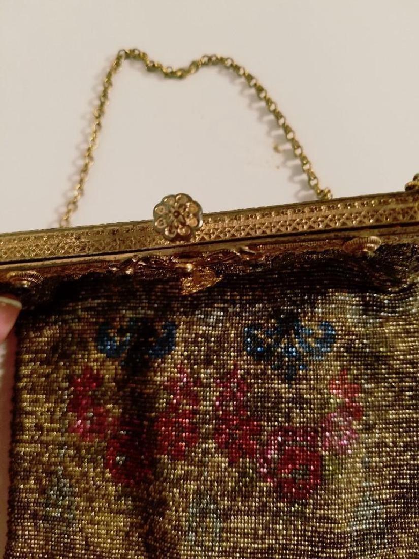 Antique Edwardian French Jeweled Beaded Gilded Bag - 8