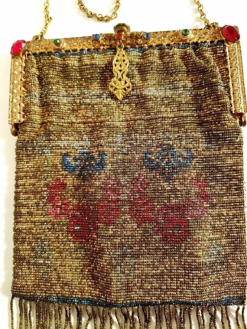 Antique Edwardian French Jeweled Beaded Gilded Bag - 9