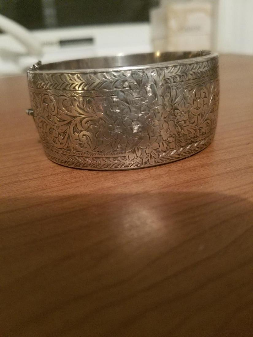 Antique English Sterling Silver Bangle Carved - 10