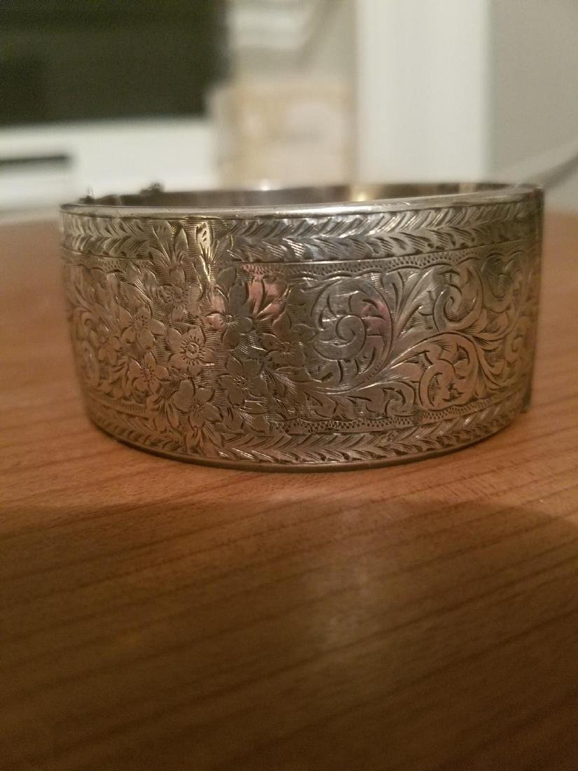 Antique English Sterling Silver Bangle Carved