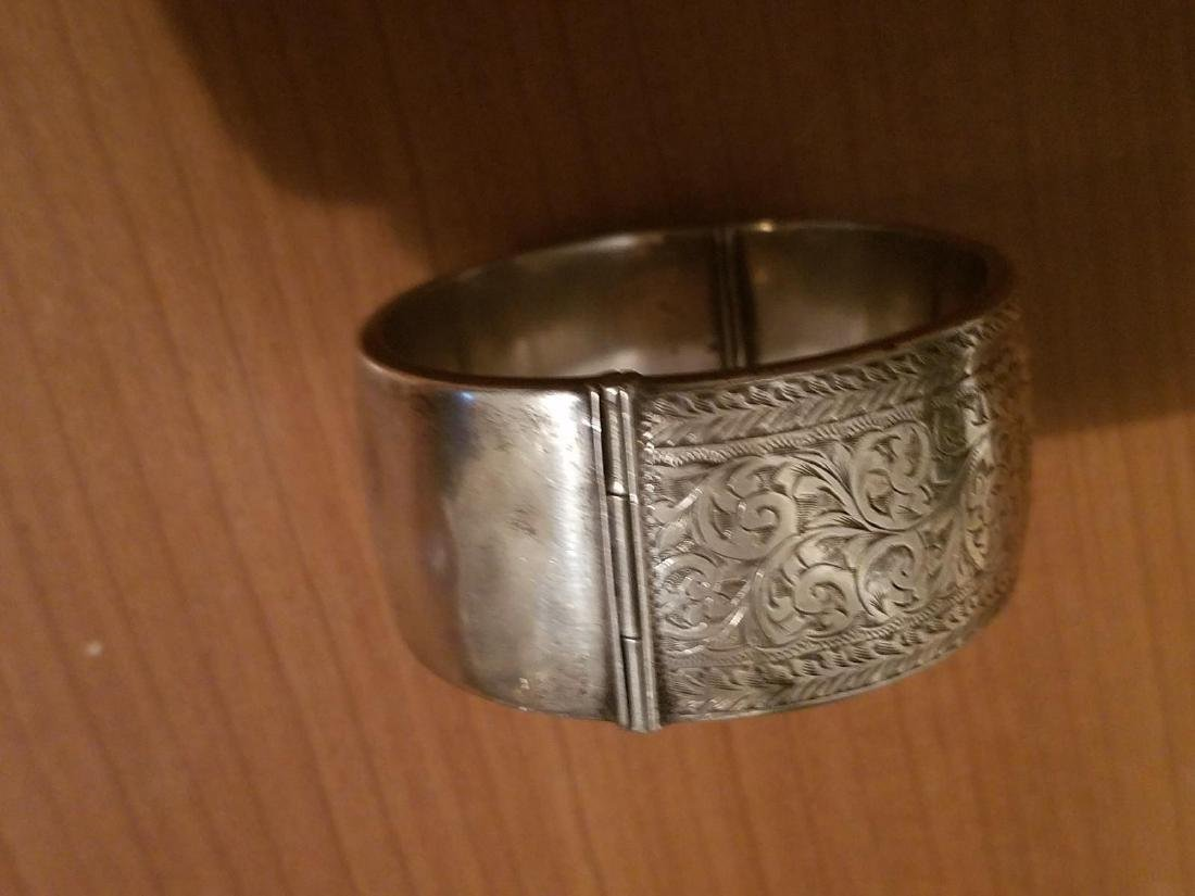 Antique English Sterling Silver Bangle Carved - 5