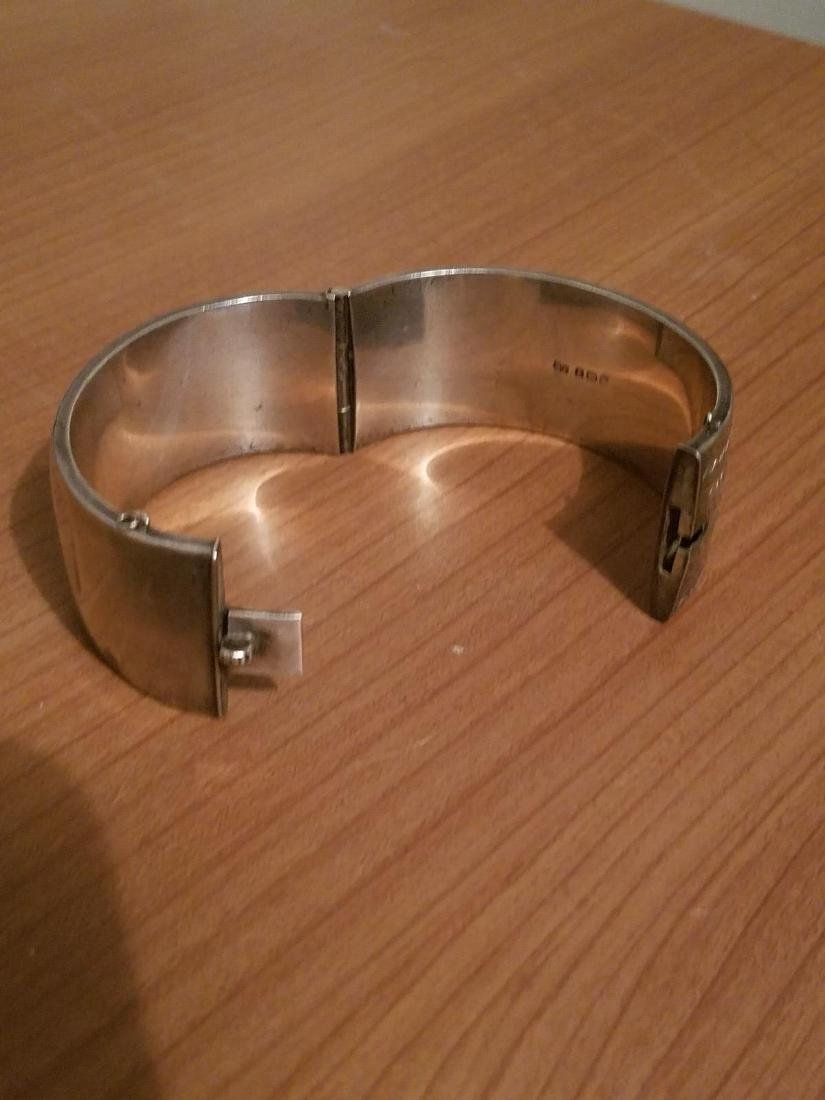 Antique English Sterling Silver Bangle Carved - 7
