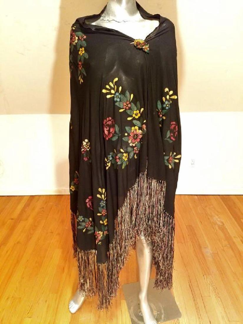 French 1930's Hand Painted Rare Silk Shawl/Pareo