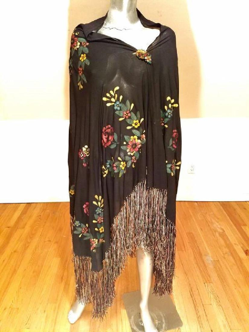 French 1930's Hand Painted Rare Silk Shawl/Pareo - 3