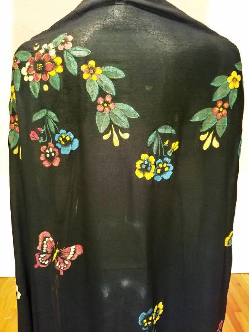 French 1930's Hand Painted Rare Silk Shawl/Pareo - 8