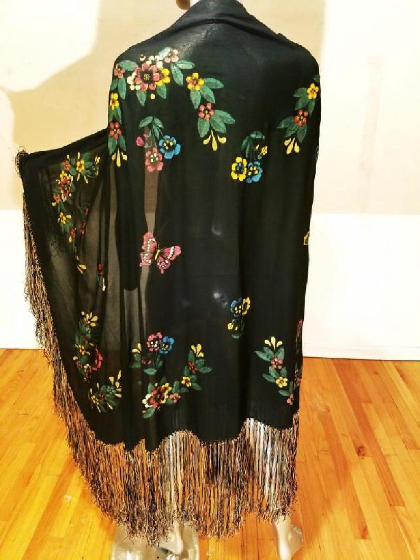 French 1930's Hand Painted Rare Silk Shawl/Pareo - 9