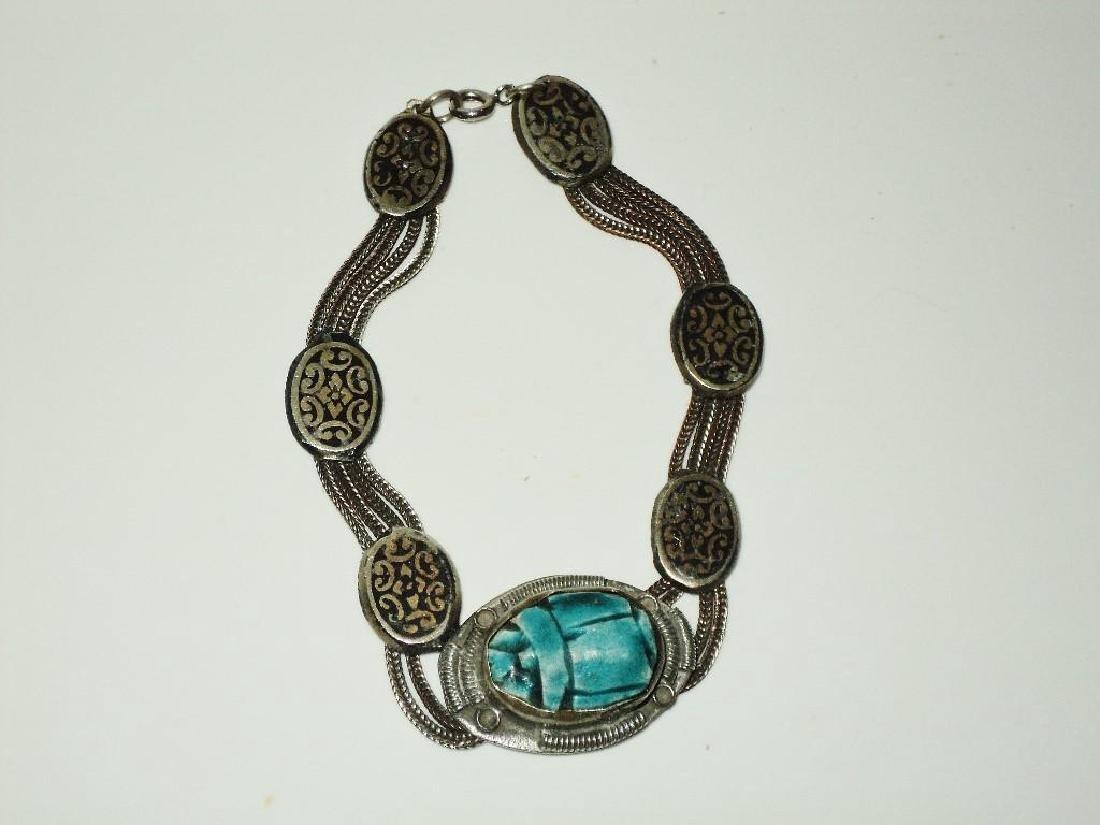 Vintage 1940's Old Rare Silver Scarab Beetle Bracelet