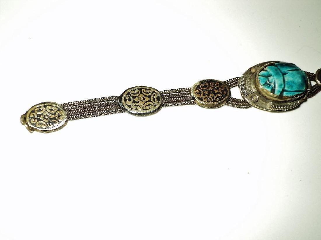 Vintage 1940's Old Rare Silver Scarab Beetle Bracelet - 2