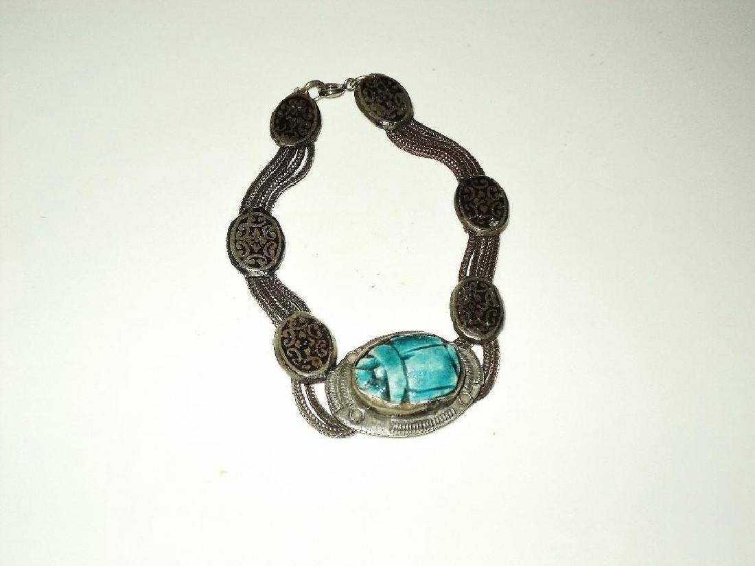 Vintage 1940's Old Rare Silver Scarab Beetle Bracelet - 3