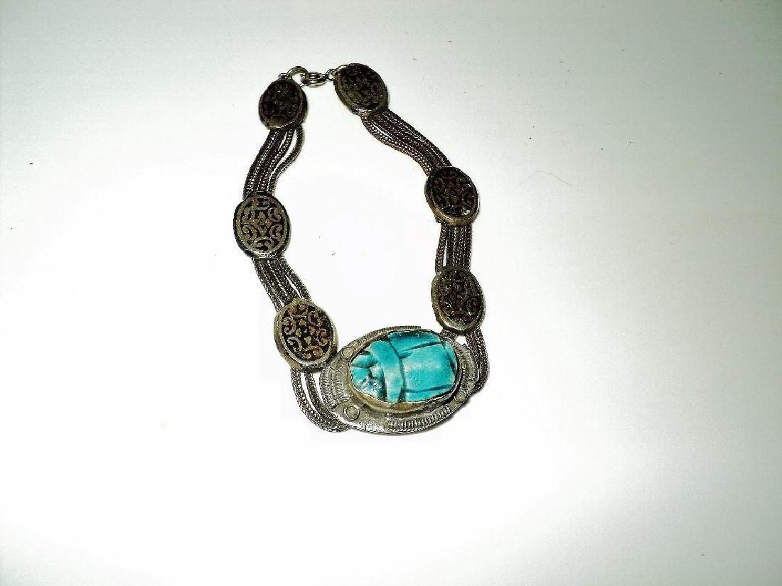 Vintage 1940's Old Rare Silver Scarab Beetle Bracelet - 4