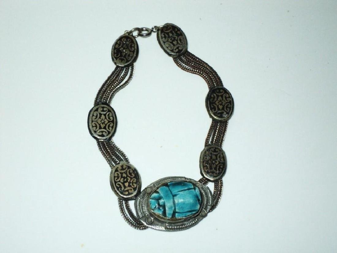 Vintage 1940's Old Rare Silver Scarab Beetle Bracelet - 5