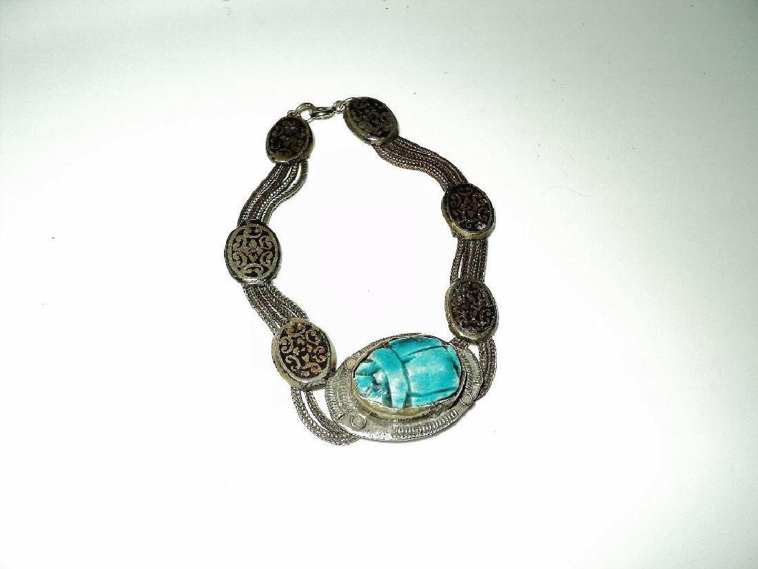 Vintage 1940's Old Rare Silver Scarab Beetle Bracelet - 6