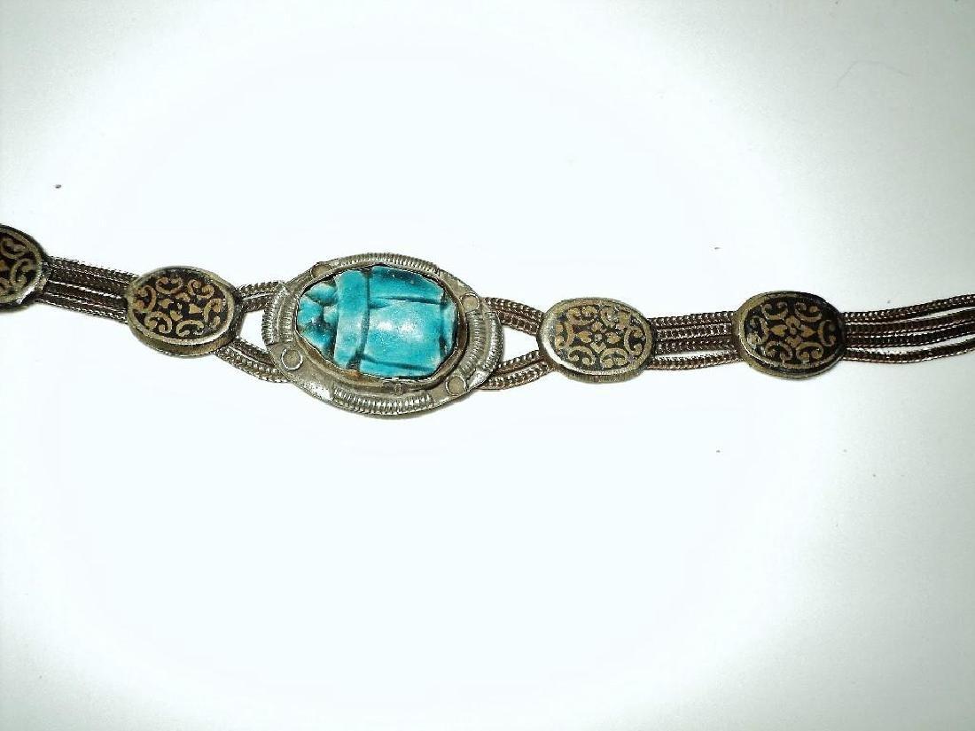 Vintage 1940's Old Rare Silver Scarab Beetle Bracelet - 8