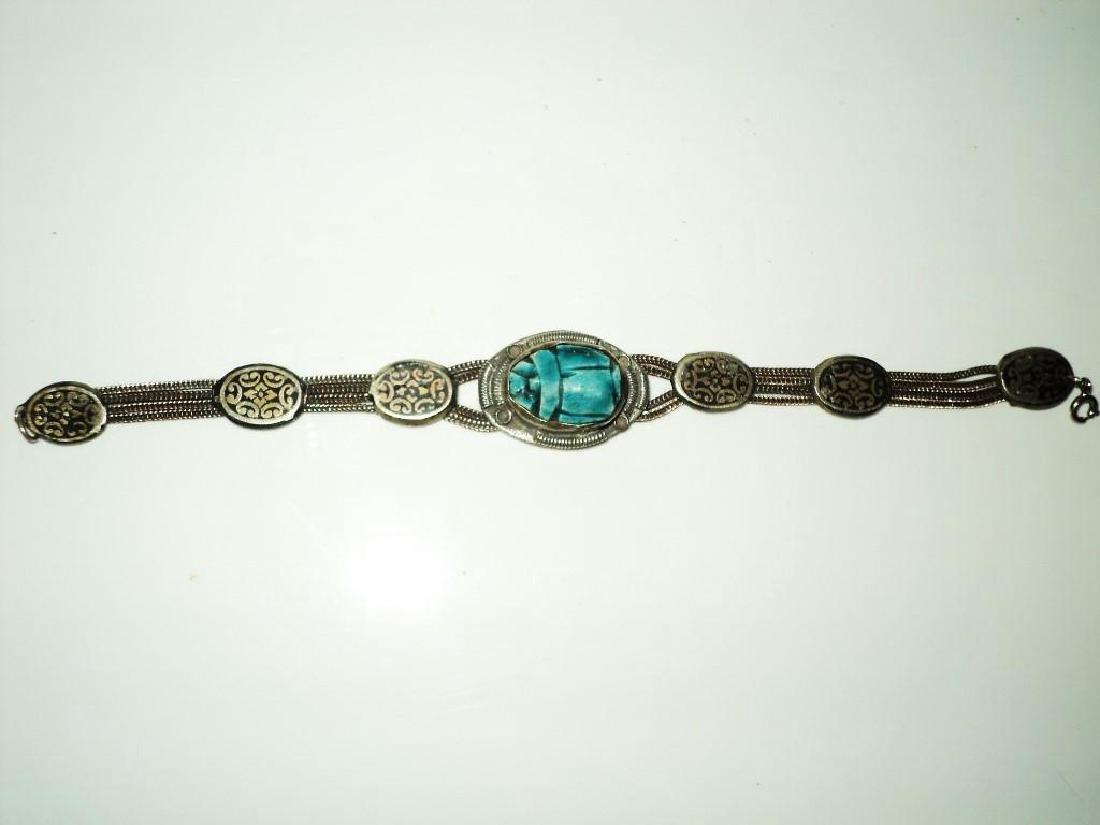Vintage 1940's Old Rare Silver Scarab Beetle Bracelet - 9