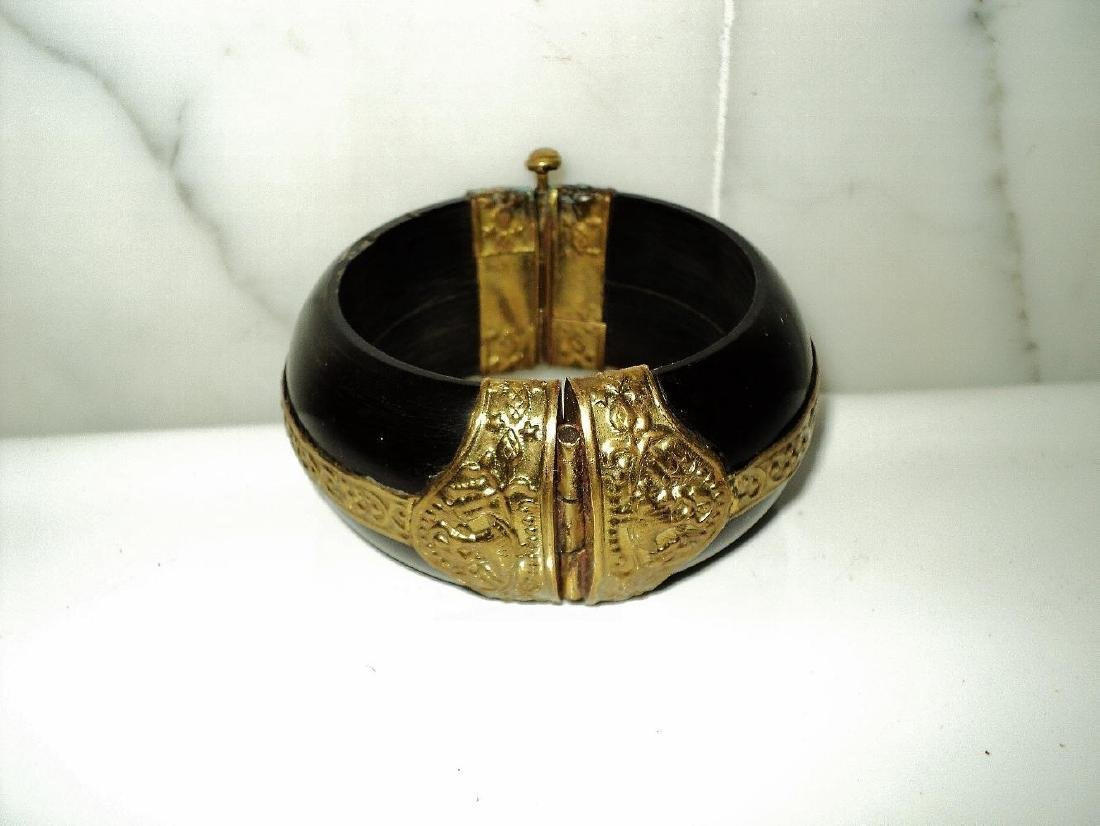 Vintage Handmade Painted Wood Bangle With Gold - 2