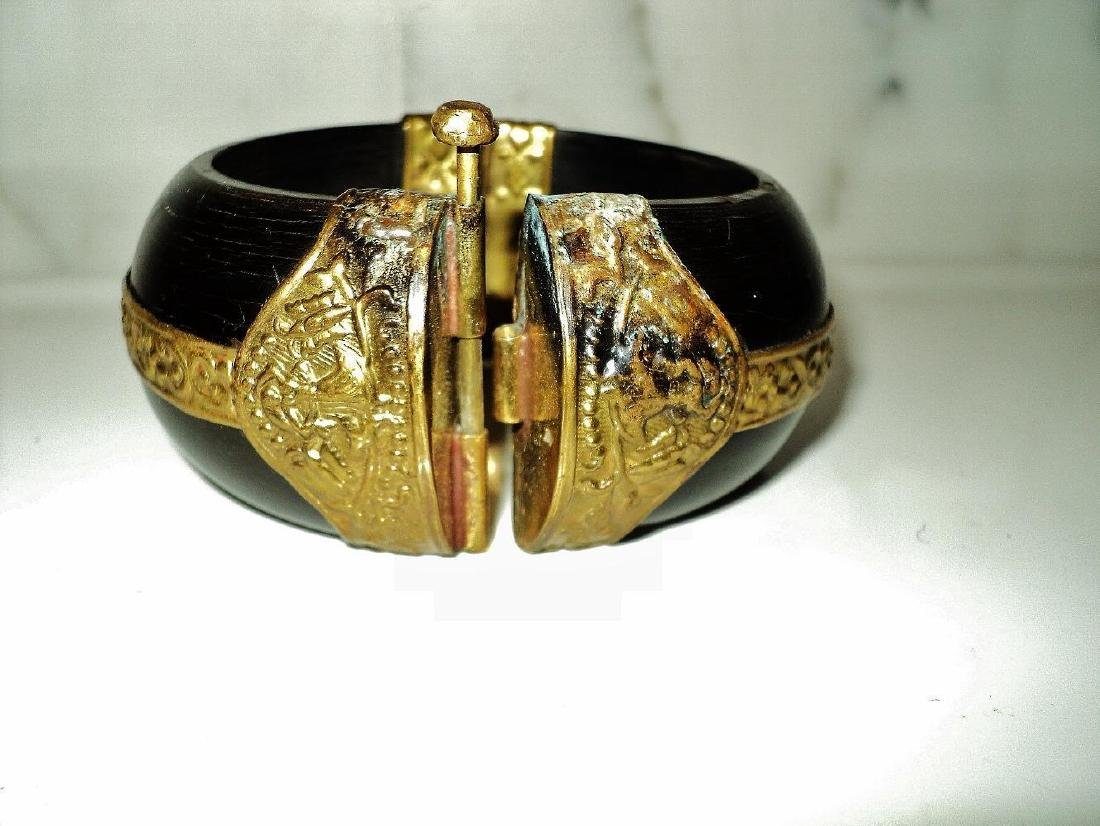 Vintage Handmade Painted Wood Bangle With Gold - 3