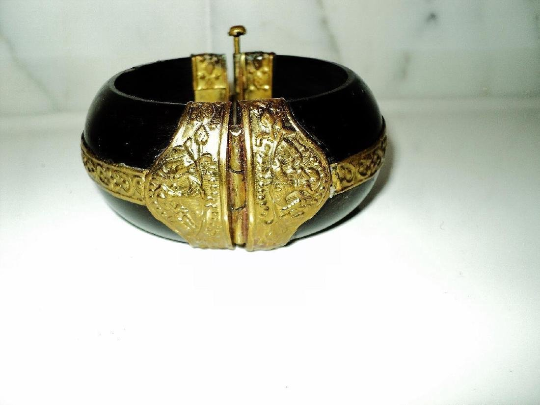 Vintage Handmade Painted Wood Bangle With Gold - 6