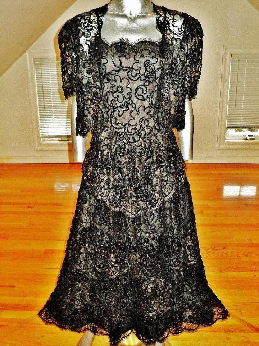 Vintage French Guipure Lace Shirred Gown/Bolero Jacket - 2