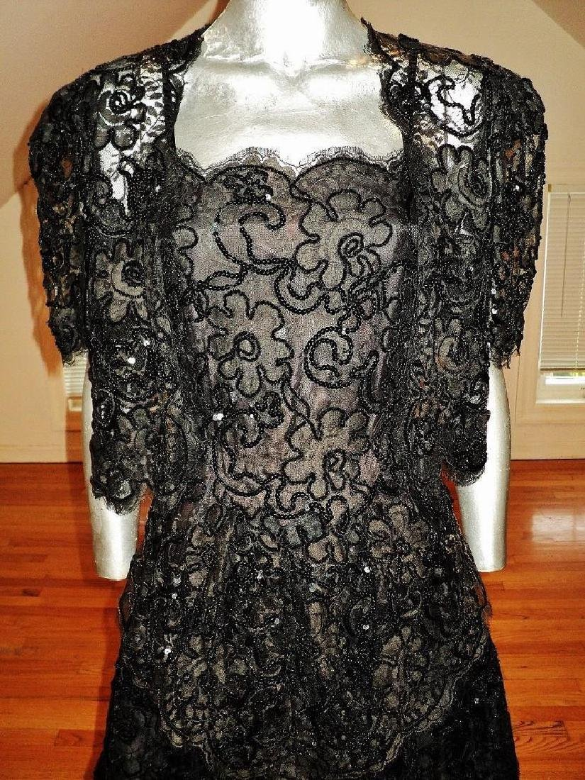 Vintage French Guipure Lace Shirred Gown/Bolero Jacket - 5