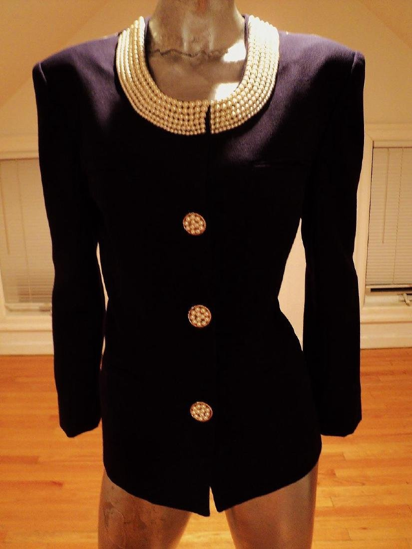 Couture Ecaille Paris French Jacket Wool With Pearls - 7