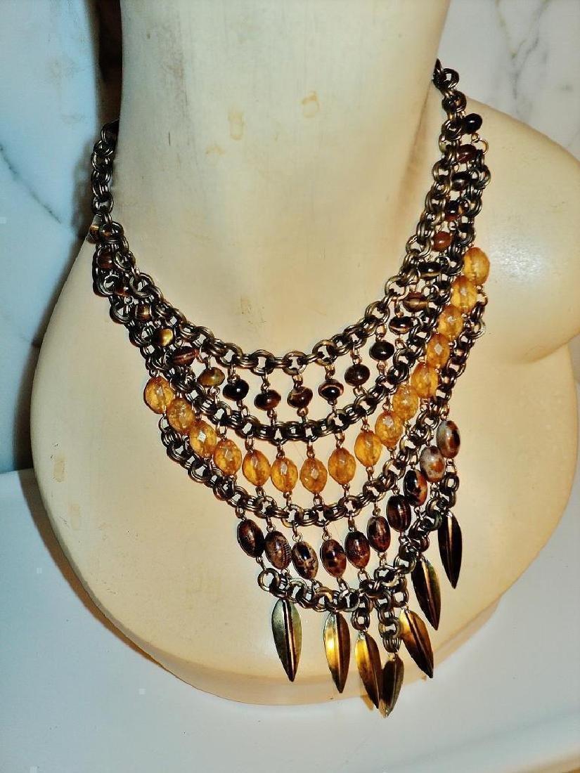 Vintage Ethnic Brass Metal Waterfall Necklace Tiger Eye