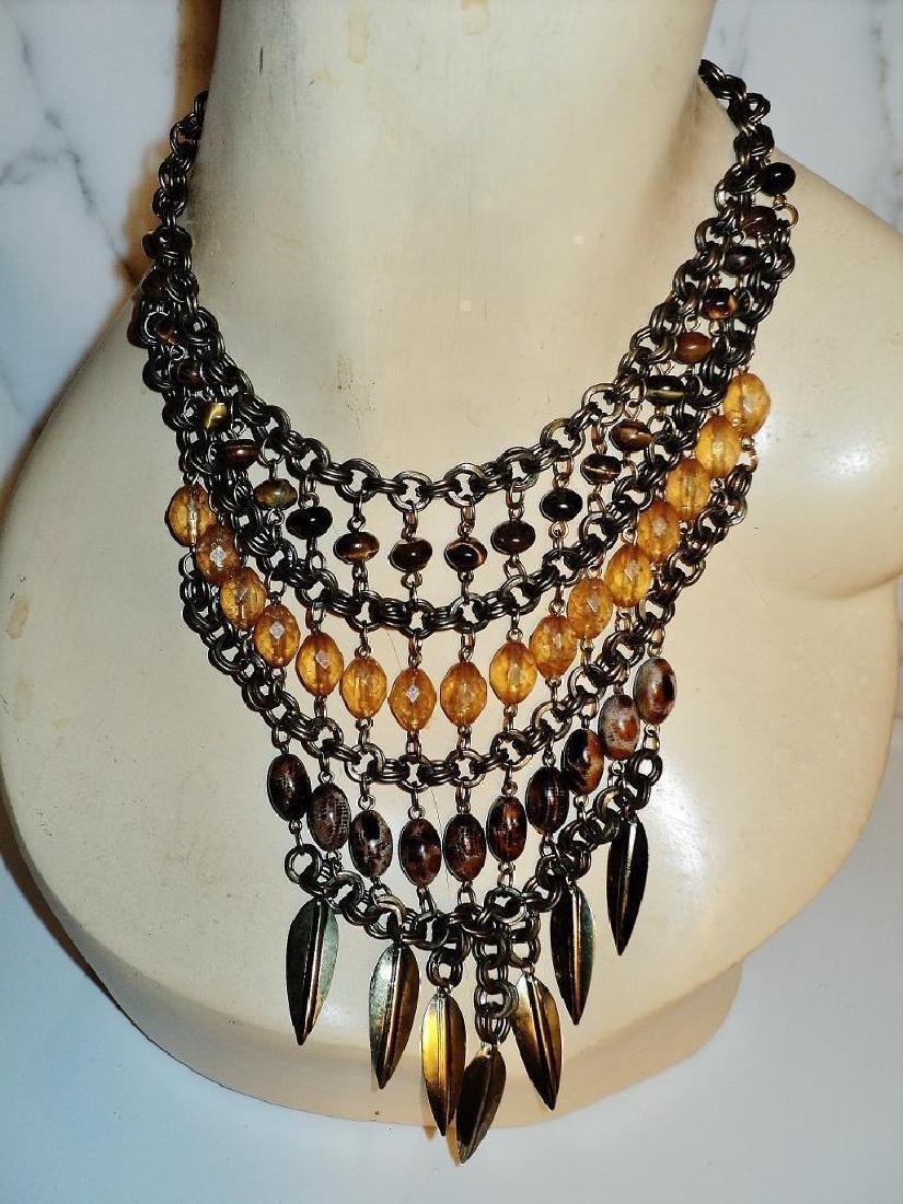 Vintage Ethnic Brass Metal Waterfall Necklace Tiger Eye - 2
