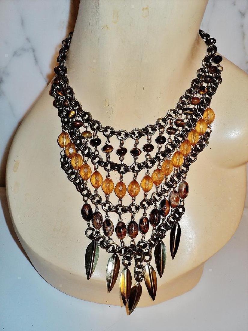 Vintage Ethnic Brass Metal Waterfall Necklace Tiger Eye - 3