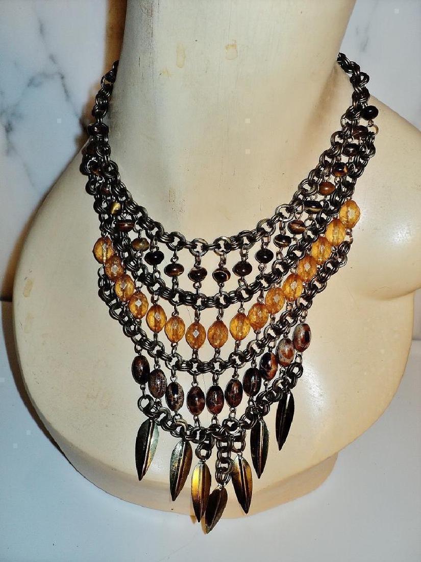 Vintage Ethnic Brass Metal Waterfall Necklace Tiger Eye - 5