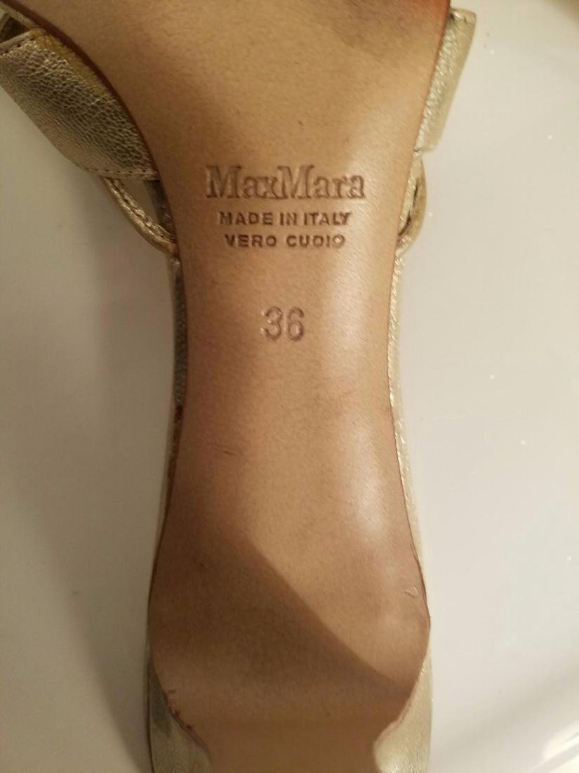 Vintage Max Mara Runway Gold Leather Heeled Mules - 2