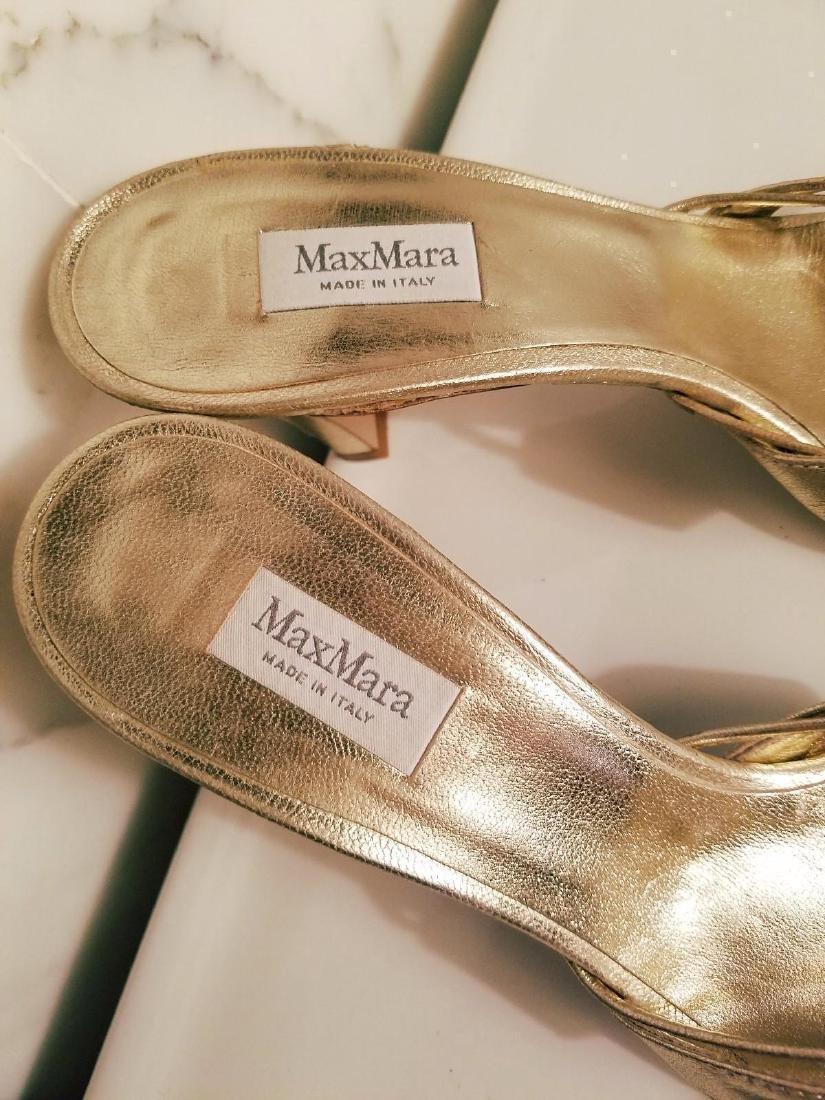 Vintage Max Mara Runway Gold Leather Heeled Mules - 3
