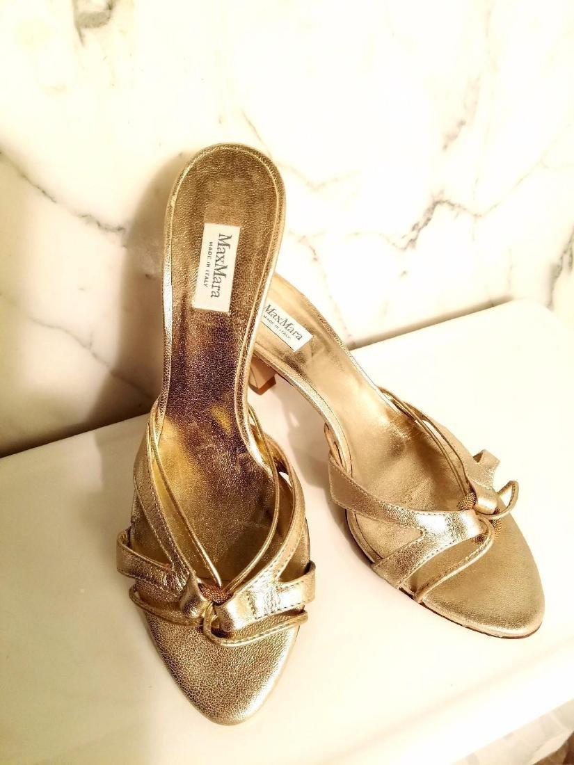 Vintage Max Mara Runway Gold Leather Heeled Mules - 4