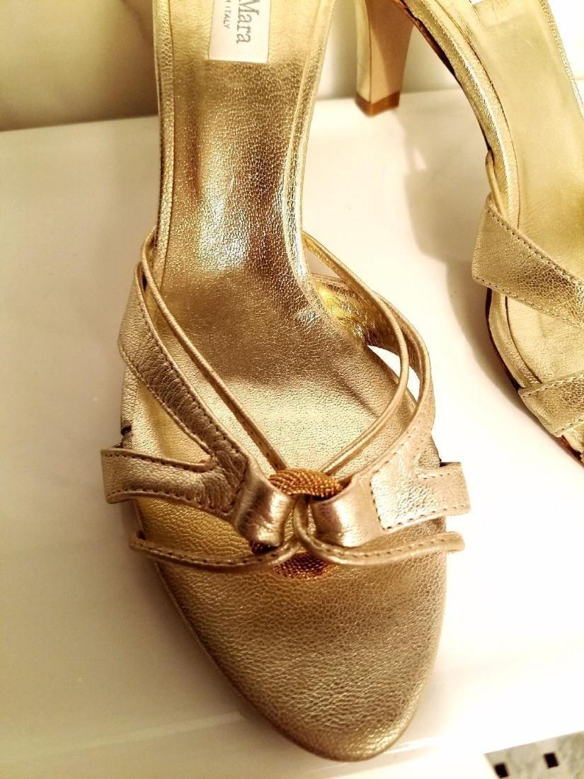Vintage Max Mara Runway Gold Leather Heeled Mules - 7