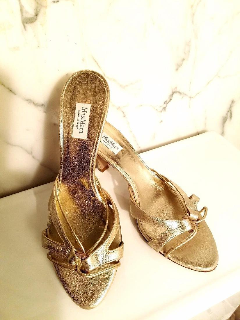 Vintage Max Mara Runway Gold Leather Heeled Mules - 9