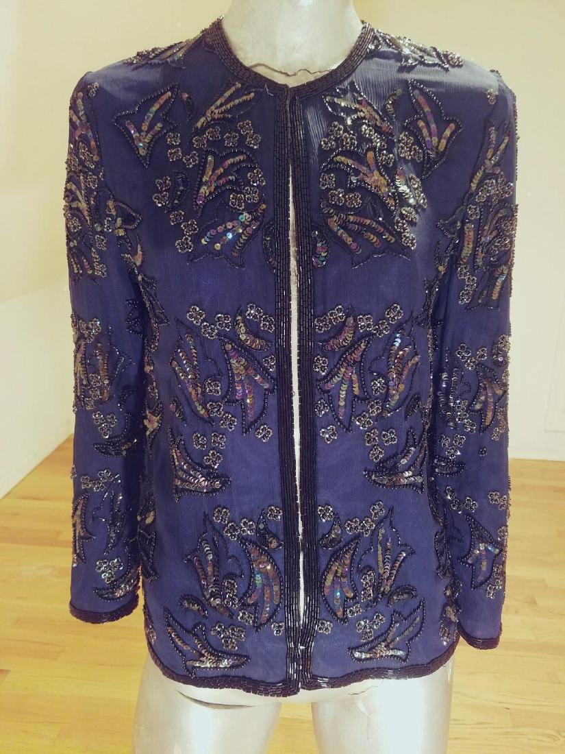 Vintage Cobalt Blue Silk Beads/sequins Tunic Jacket