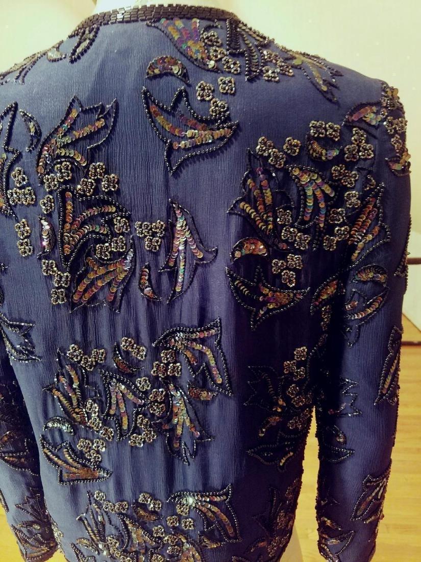 Vintage Cobalt Blue Silk Beads/sequins Tunic Jacket - 2