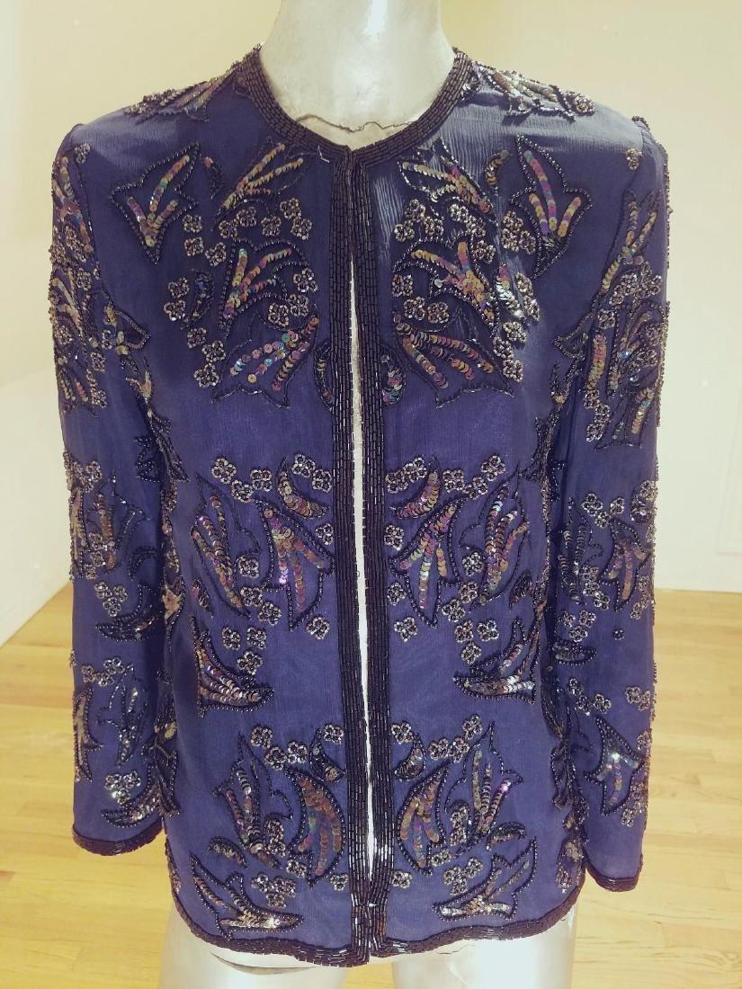 Vintage Cobalt Blue Silk Beads/sequins Tunic Jacket - 3