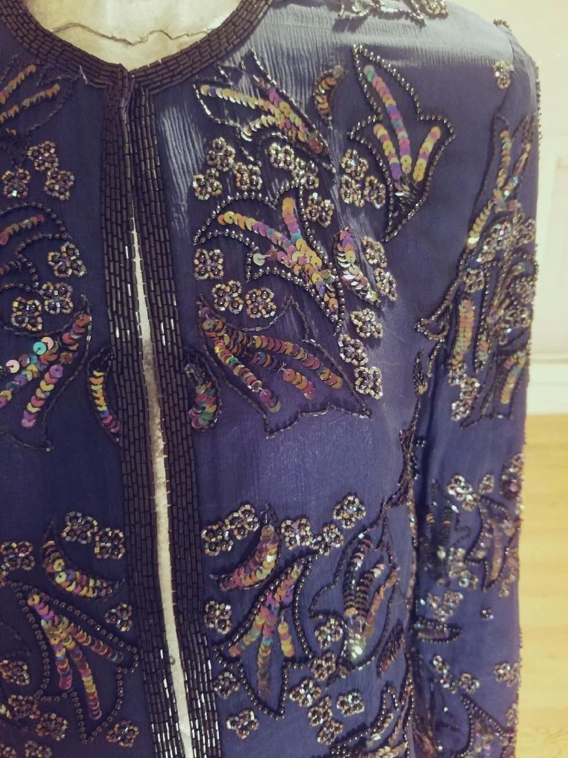 Vintage Cobalt Blue Silk Beads/sequins Tunic Jacket - 4