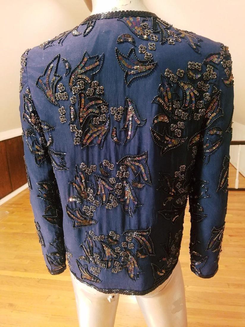 Vintage Cobalt Blue Silk Beads/sequins Tunic Jacket - 7